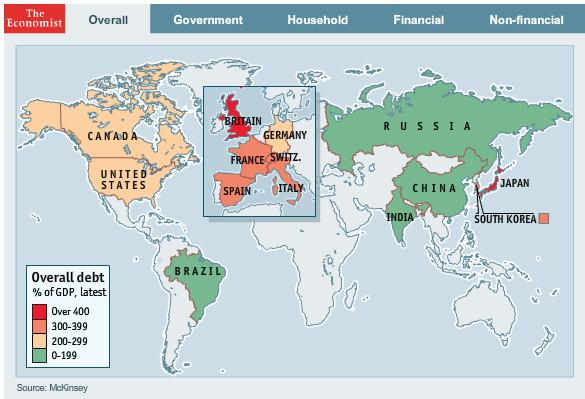 Global Debt by Country 2010